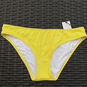 Shade & Shore Yellow Ribbed Bikini Bottom Medium